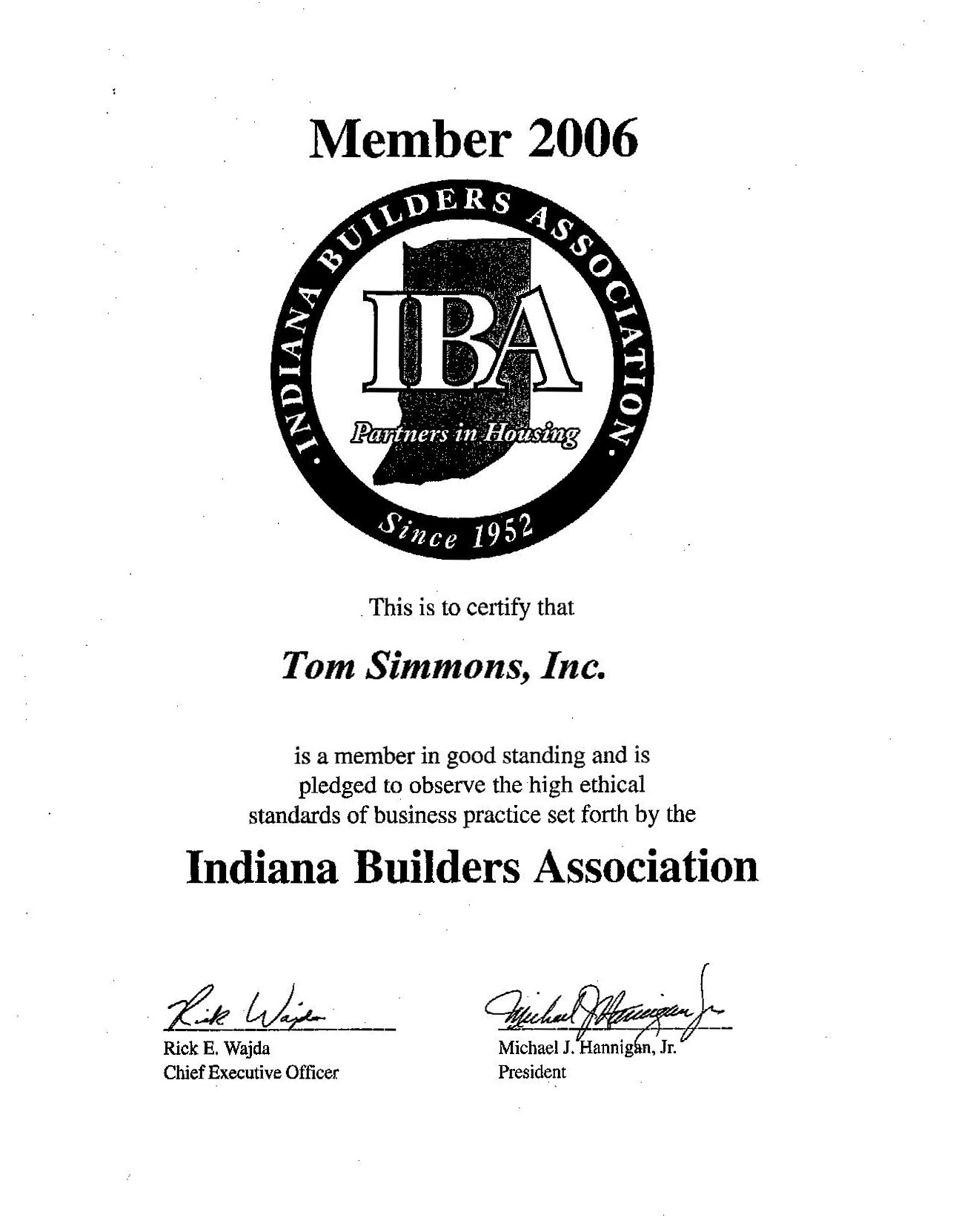 References tom simmons inc indiana builders association certificate xflitez Images