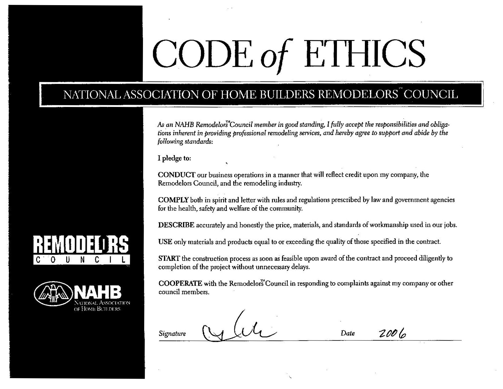 References tom simmons inc national association of home builders certificate national association of home remodelers council code of ethics xflitez Images