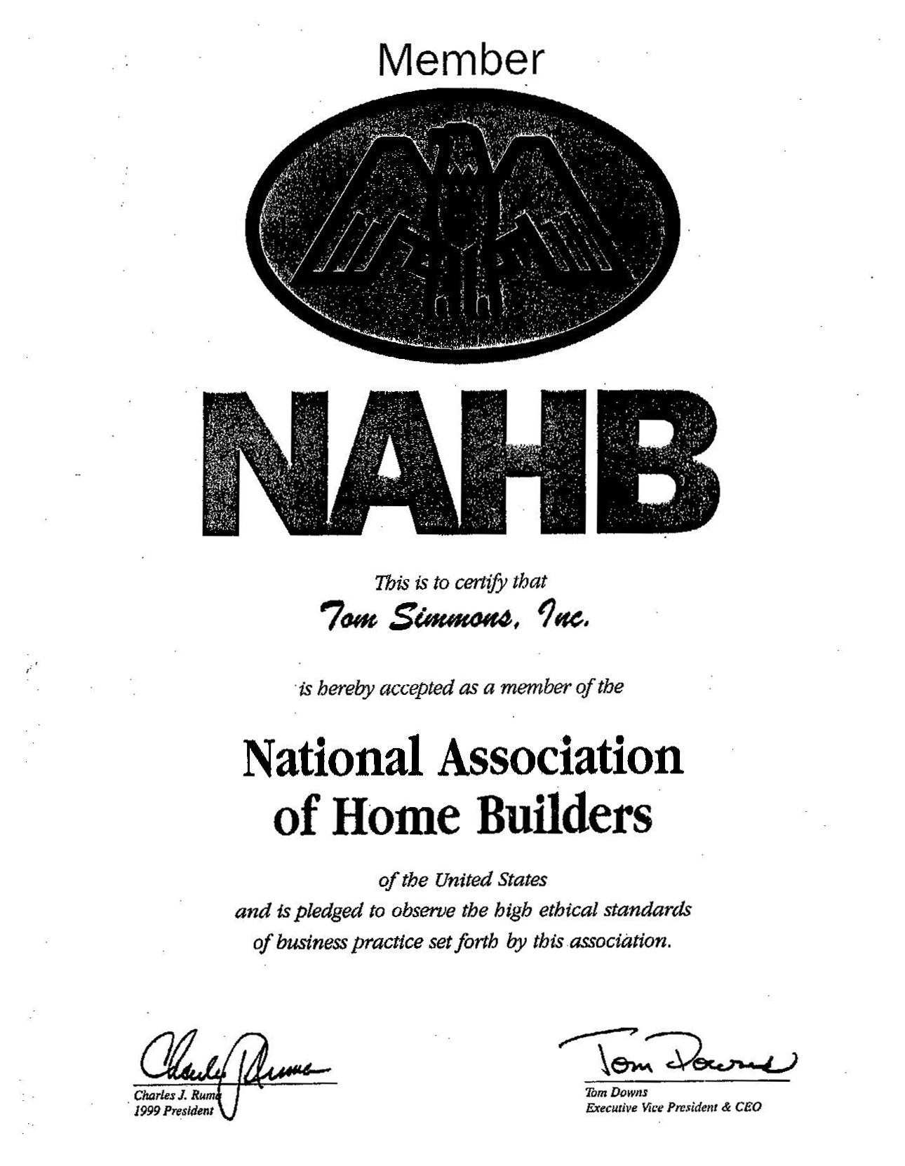 References tom simmons inc national association of home builders certificate xflitez Images