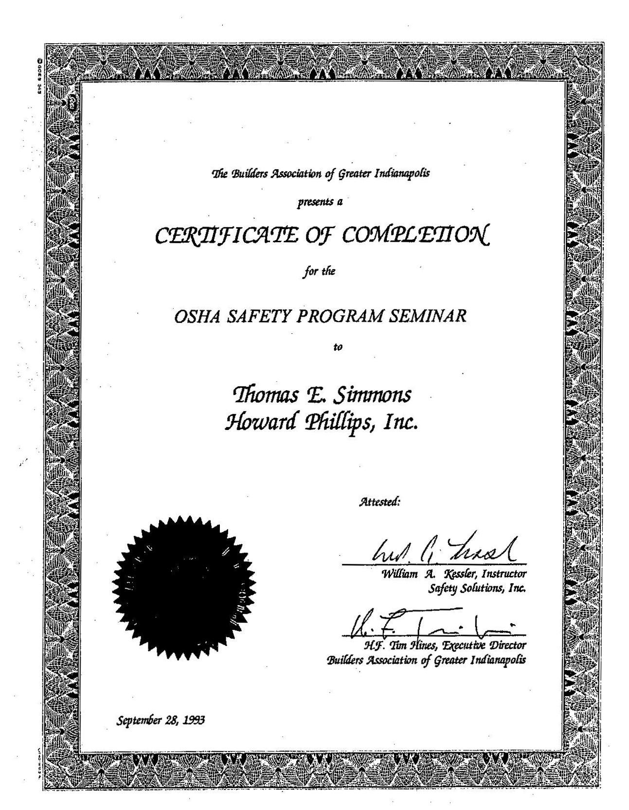 References tom simmons inc osha safety program seminar xflitez Images